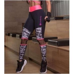 'Adira' Neon Coral and Camo Gym Leggings