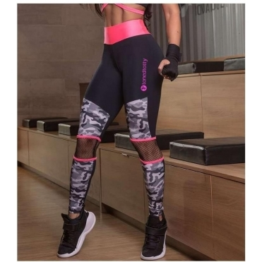 'Adira' Neon Coral and Camo Gym Leggings
