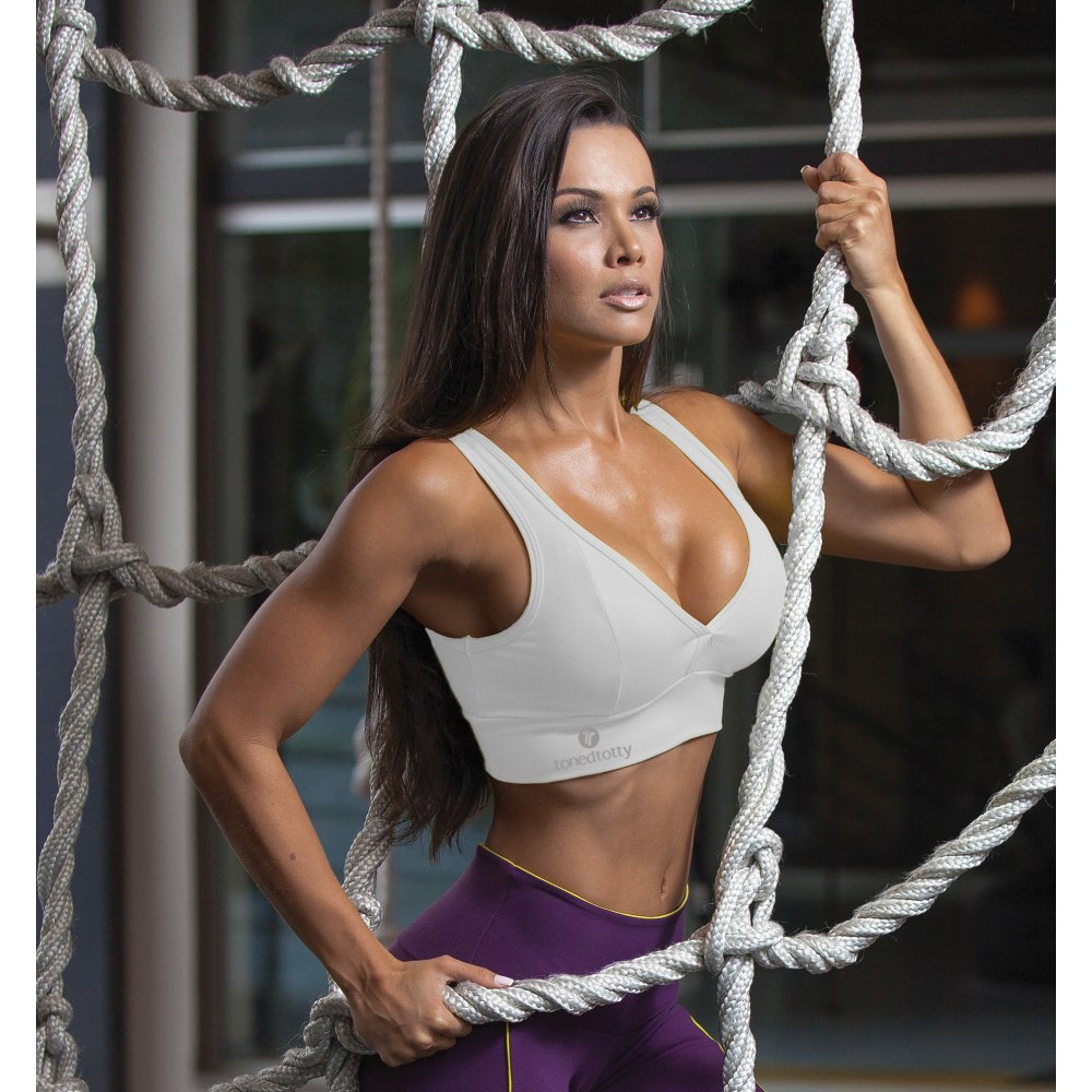 White Padded Fitness Sports Bra super comfortable and soft on the skin