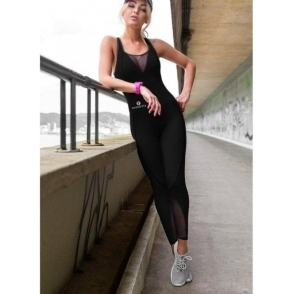 Black 'All The iSingle Ladies' Fitness Supplex Jumpsuit
