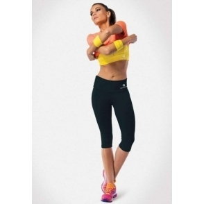 Black 'Beatz' Supplex Capri Gym Leggings