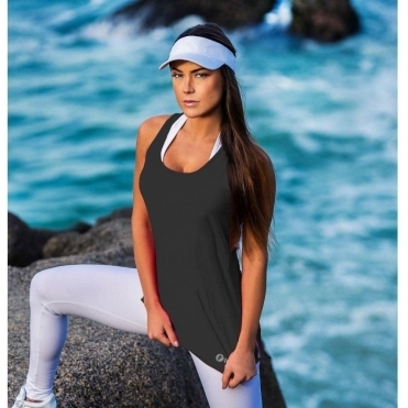 Black 'Lady Godiva' Fitness Fashion Vest Top