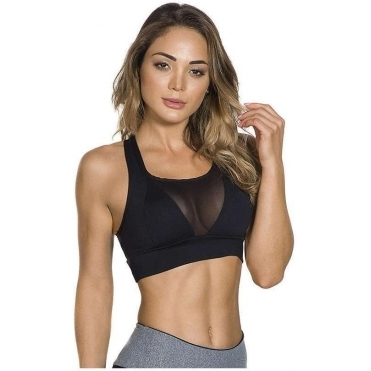 Black Supplex and Tulle Sports Bra Top