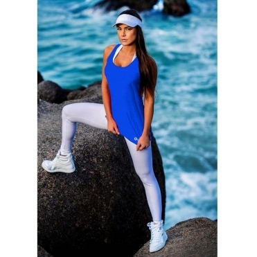 Blue 'Lady Godiva' Fitness Fashion Vest Top