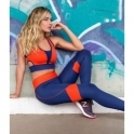 'Blue-tiful Horizon' Navy and Red Lycra Fitness Leggings