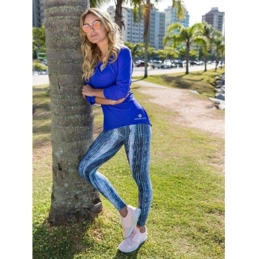 'Boho Blues' Print Light Fitness Leggings