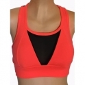 'Bossgirl' Neon Coral Supplex and Tulle Sports Bra Top