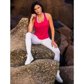 'Bossgirl' Supplex White Fitness Leggings