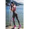 """Catch Of The Day"" Black/Neon Pink Supplex Fitness Jumpsuit"