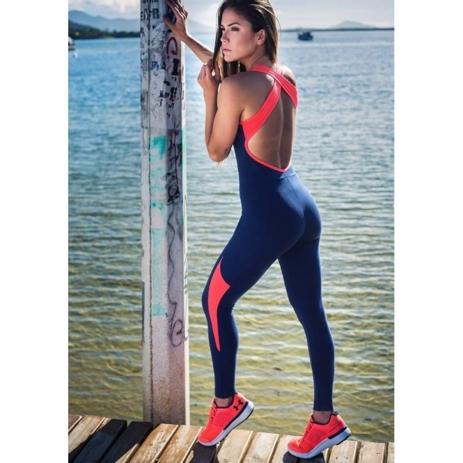 """Catch Of The Day"" Navy/Coral Supplex All-In-One Fitness Jumpsuit"