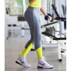 City Lights Grey/Neon Compression Supplex Gym Leggings