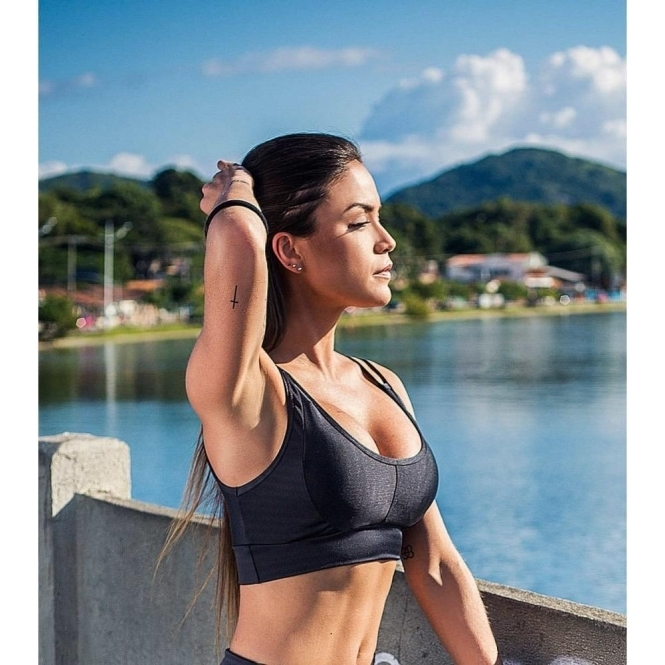 'Coco Blue' Subtle Print Fitness Bra top