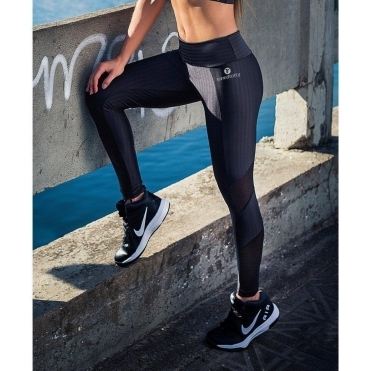 'Coco Noir 2' Subtle Print Day To Night Fitness Leggings
