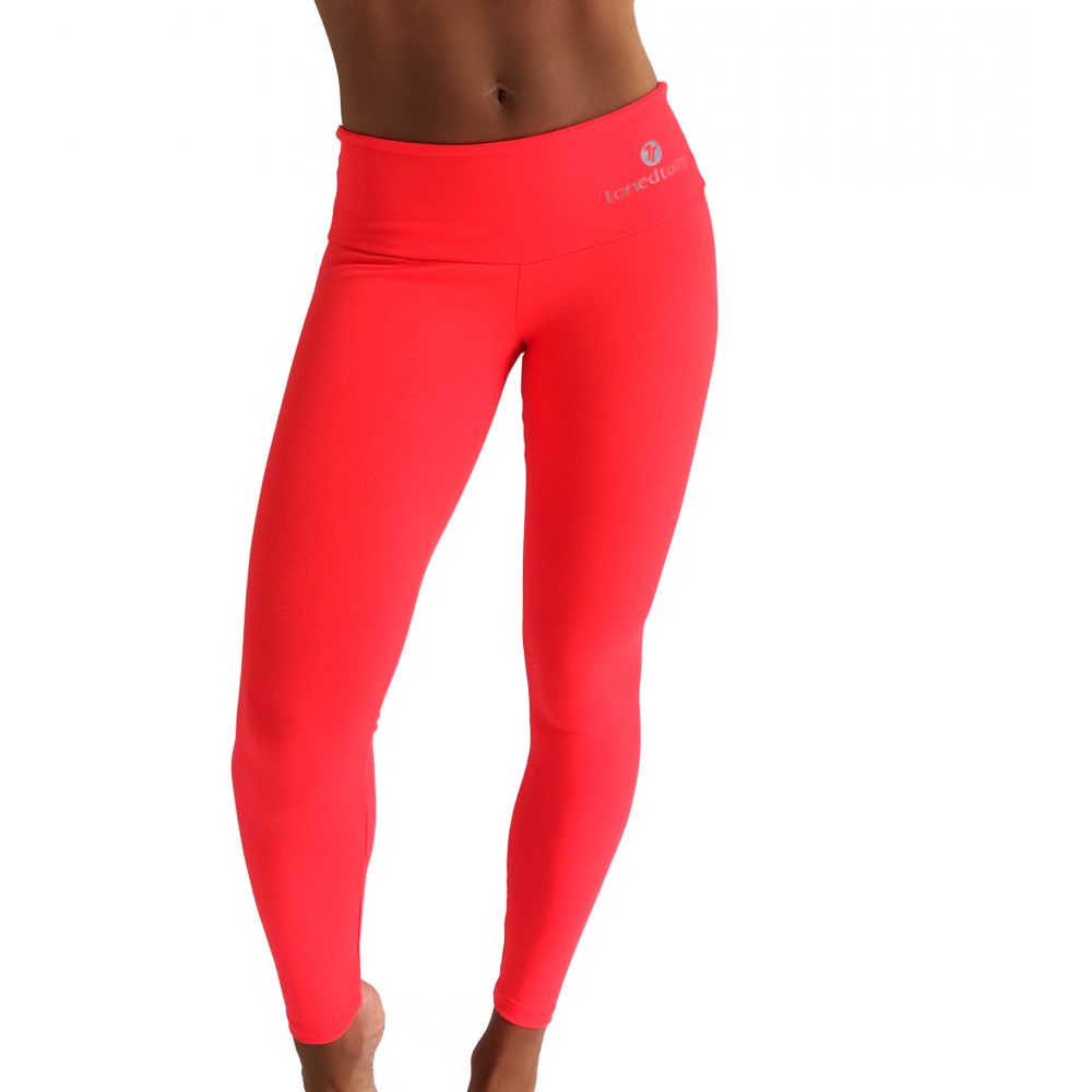 Fitness Leggings Material: Bright Coral Pink Luxury Gym Fitness Leggings, Supplex Fabric
