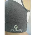 'Dilly Dally' Grey and White Sports Fitness Bra Top