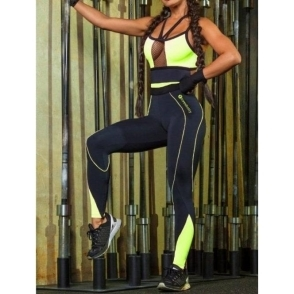 'Drop It Like A Squat' Black and Neon Fitness Jumpsuit / Catsuit