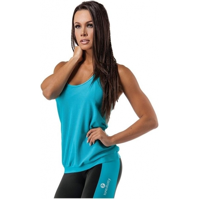 'Easy Breezy' Stretch Mesh Fitness Top Scuba Blue