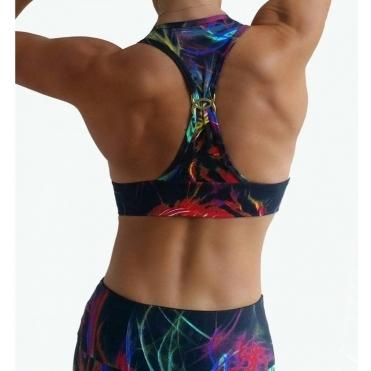 'Electri-Cute' Printed Supplex Sports Bra
