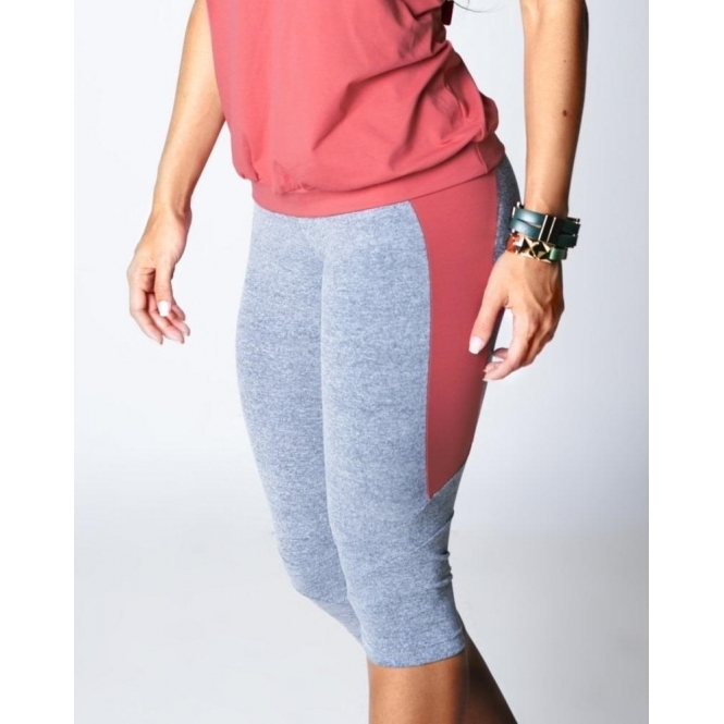 'Elegante' Grey/Coral 3/4 Supplex Legging