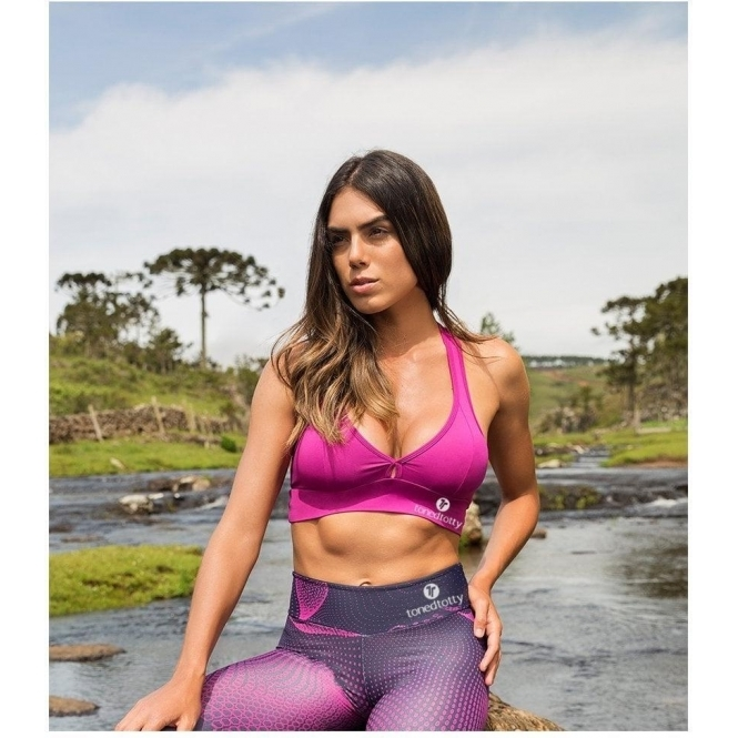 'Fandango' Lycra Sports Bra Top Pink