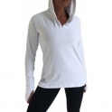 'FitFam' White Hooded Sports Top With Co2 Control