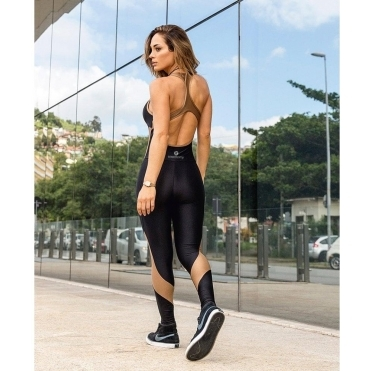'Good As Gold' Black and Bronze Fitness Jumpsuit / Catsuit