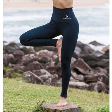 High Waisted Black Lycra Sport 'Suave 2' Fitness Leggings