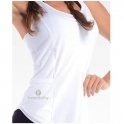 'In The Game' White Pocket Fitness Vest Top