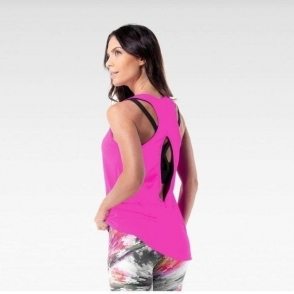 'Jetsetter' Open Back Fitness Vest Top Neon Pink