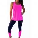 'Jetsetter' Open Back Fitness Vest Top Neon Pink