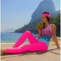 'La-Di-Da' Supplex Pink Fitness Leggings