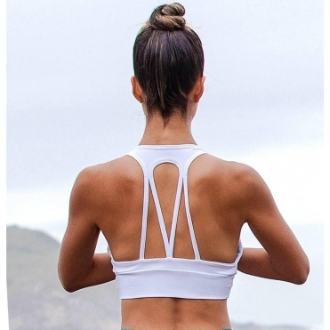 'La-Di-Da' Supplex White Sports Bra Top