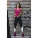 Ladies 'Tonic' Fitness Top in Raspberry/Blk/Wht Petite