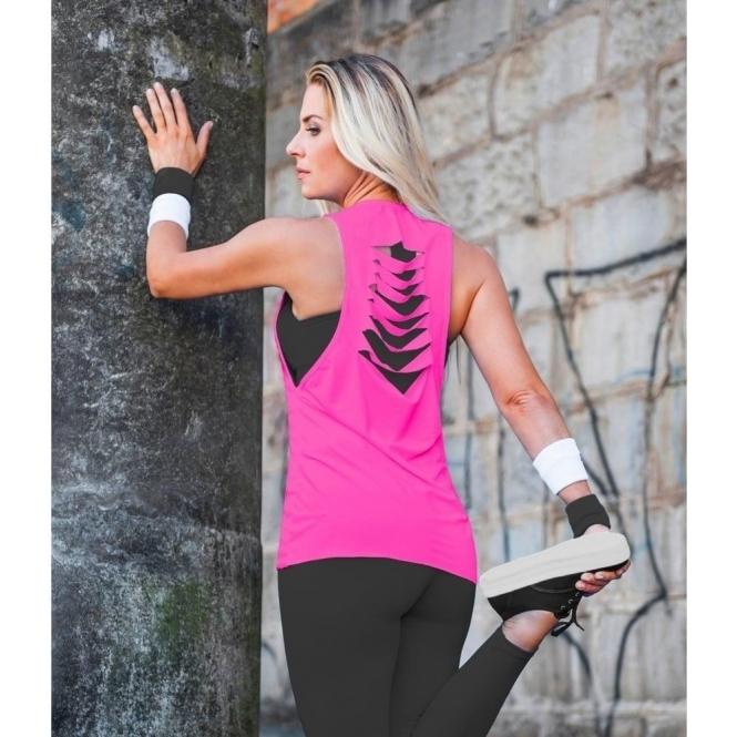 LAST ONE! Slash back Fitness Vest Pink Neon