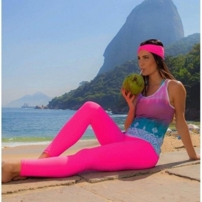 LAST PAIR! 'La-Di-Da' Supplex Pink Fitness Leggings