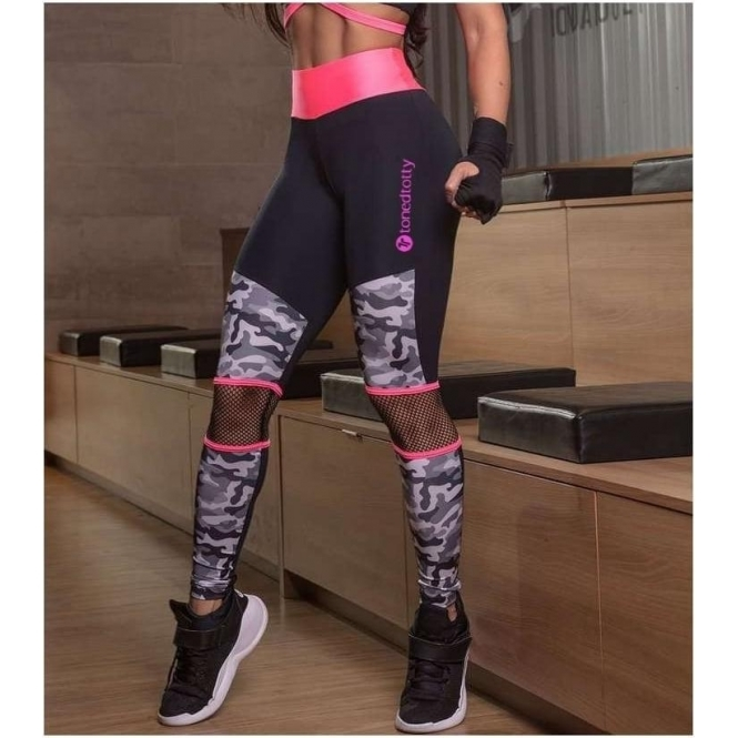 Limited Edition 'Adira' Neon Coral and Camo Gym Leggings