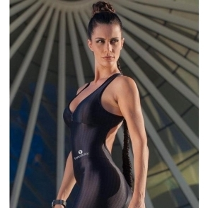 'Little Miss' Black Sports Fitness Jumpsuit / Catsuit