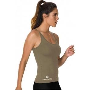Longer Length Khaki Fitness Vest Top
