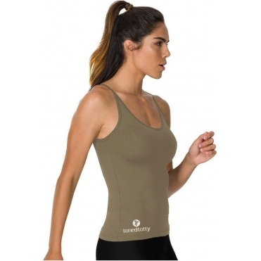 Longer Length Khaki Fitness Vest Top