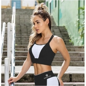 'Mademoiselle' Black and White Sports Fitness Bra