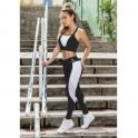 'Mademoiselle' Black and White Supplex Gym Leggings