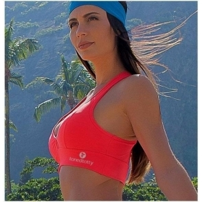 Neon Coral 'Hello Boys' Supplex Padded Sports Bra