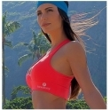 Neon Coral Supplex Padded Sports Bra