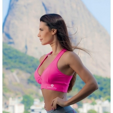 Neon Pink 'Hello Boys' Supplex Padded Sports Bra