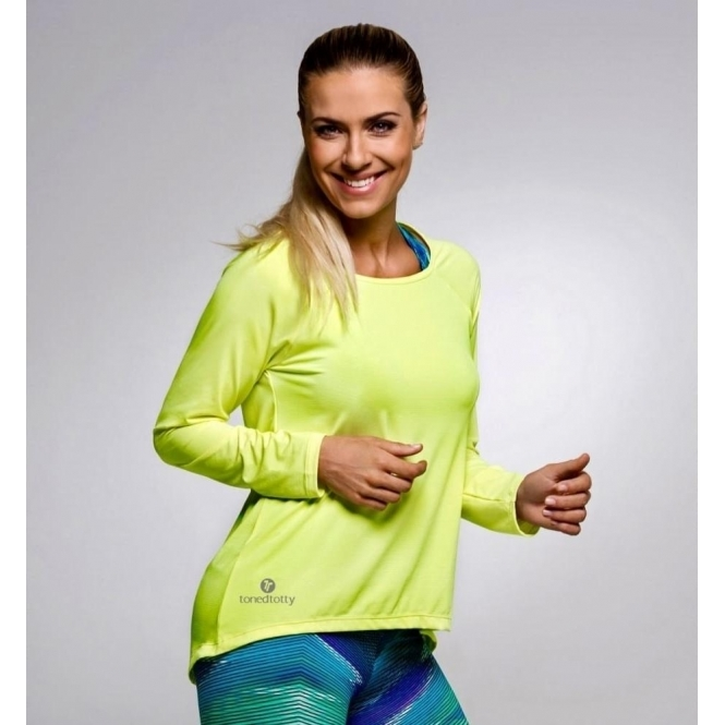 Neon Yellow 'Lazy Days 2' Long sleeve Sports Fitness Top