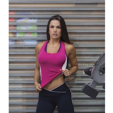Petite 'Tonic' Fitness Top in Raspberry/Blk/Wht