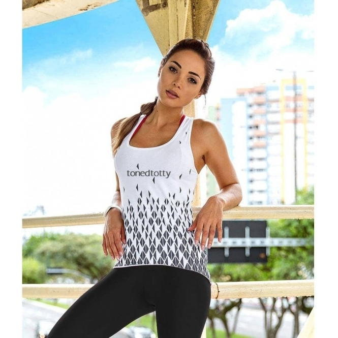 'Picture Perfect' White Fitness Vest Top