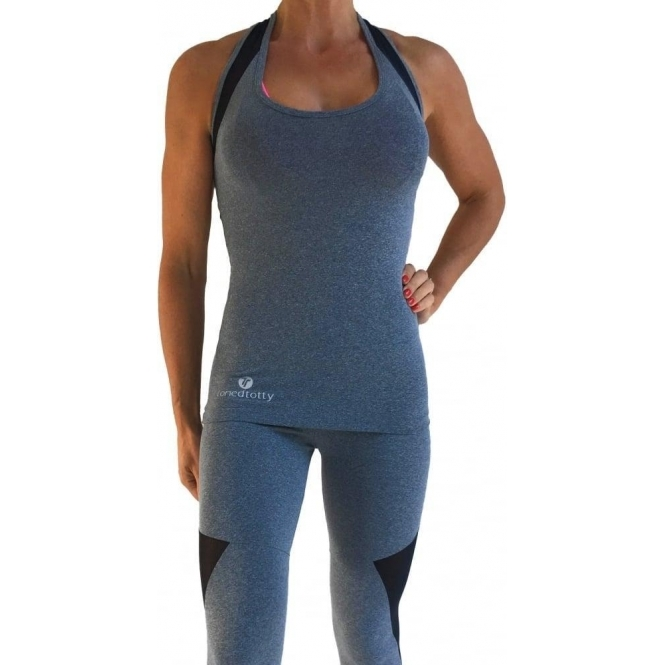 'Queen Bee' Grey Supplex And Tulle Fitness Top