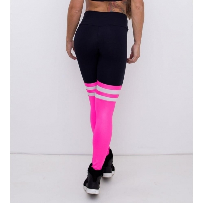 141959762 Showgirls Black and Pink Power Sock Fitness Leggings