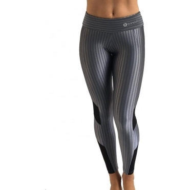 'Steel-ing The Show' Chrome Gym Leggings with Tulle